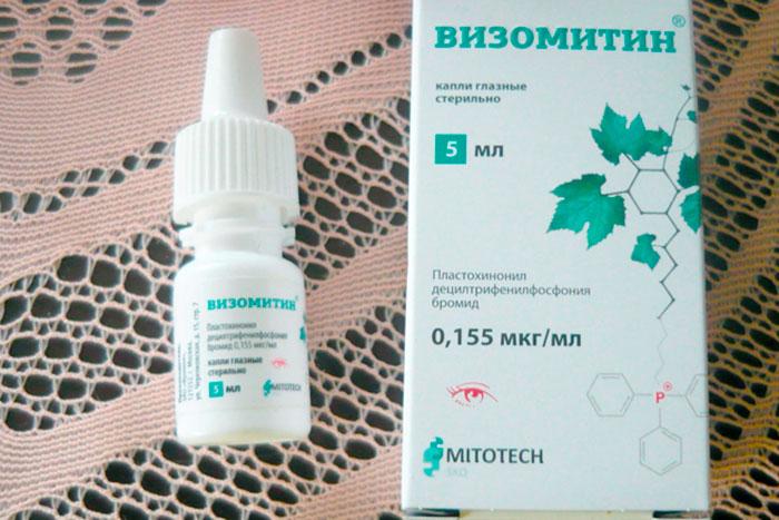 упаковка и флакон капель визометин