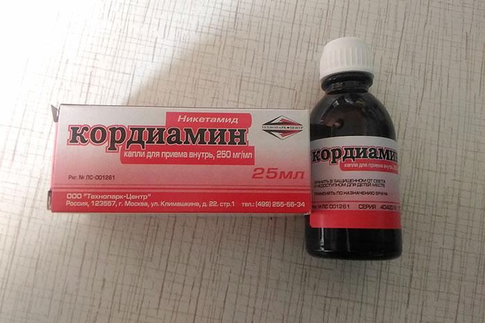упаковка и флакон капель кордиамин