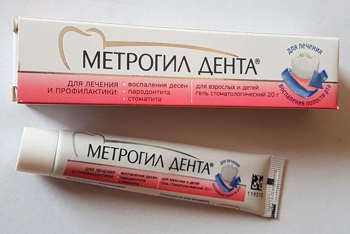 упаковка и тюбик геля Метрогил Дента