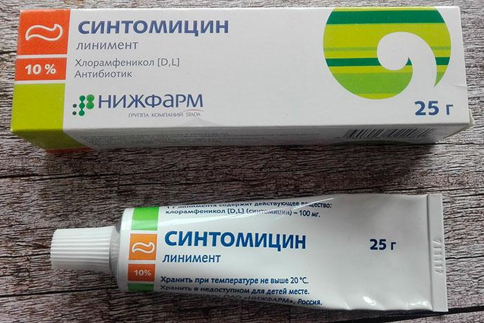 Упаковка и тюбик Синтомициновой мази